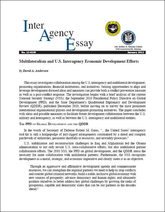 IAE 12-01W Multilateralism and U.S. Interagency Economic Development Efforts