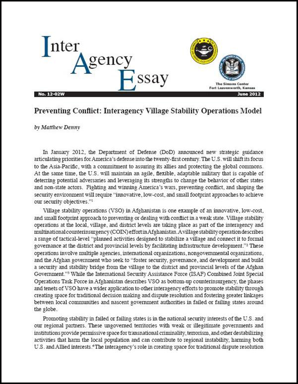 IAE 12-02W Preventing Conflict: Interagency Village Stability Operations Model
