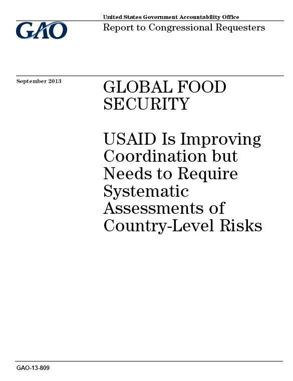 Report assesses global food security efforts