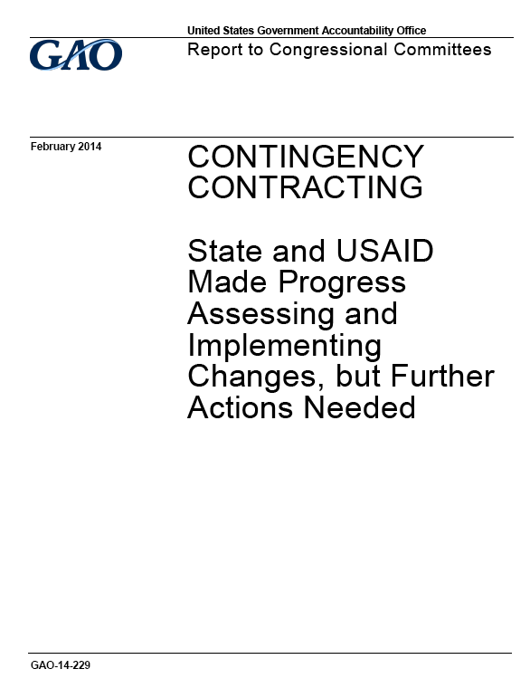 GAO assesses State and USAID contracting