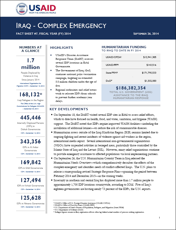USAID builds on Iraq emergency response