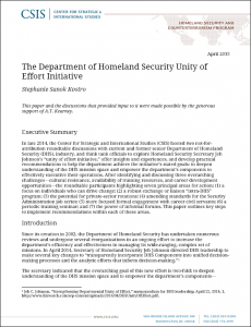 CSIS - DHS Unity of Effort