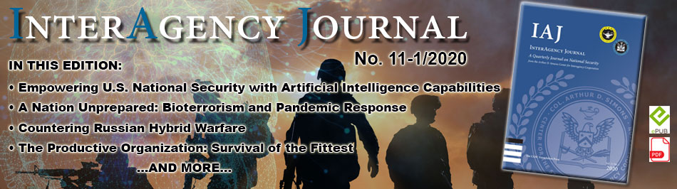 composite image for Interagency Journal 11-1 with the cover of the edition over a digital sky with silhouettes of soldiers on the ground below.
