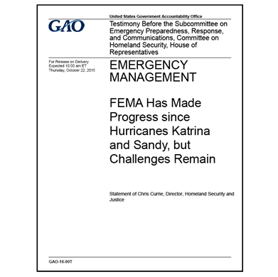 GAO testifies on FEMA progress since Katrina, Sandy