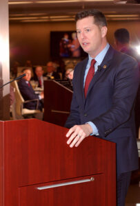 Acting Secretary of the Army Patrick Murphy speaks to attendees at the reception/dinner at the offices of Spencer Fane in downtown Kansas City, March 24. – Click the photo to see all the photos from the evening.