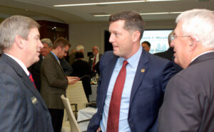 From left, CGSC Foundation Board President and Spence Fane Partner Mike Hockley, Acting SECARMY Patrick Murphy, and CGSC Foundation Chairman Lt. Gen. (Ret.) John Miller converse at the end of the evening. – Click the photo to see all the photos from the evening.