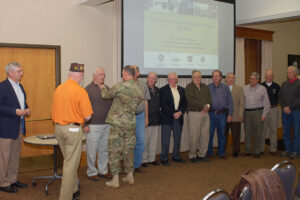 Col. Andrew Shoffner, Fort Leavenworth garrison commander, presented each Vietnam veteran present with a lapel pin from the DoD Vietnam War Commemoration program to welcome them home. – Click the photo to see all photos from the evening.