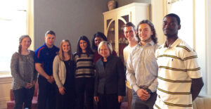 Ambassador (Ret.) Marcie Ries (fourth from right) spends time with students from the University of St. Mary during a special dinner at the university April 13. – photo courtesy University of St. Mary