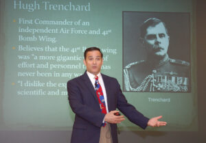 """Dr. John Curatola delivers his presentation on """"The Great War in the Air"""" on May 11. Click the photo to view the full photo gallery."""