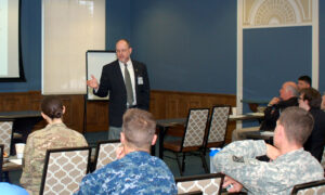 Dr. Jack Kem presents his paper to CGSOC students and other attendees at the Fort Leavenworth Ethics Symposium.