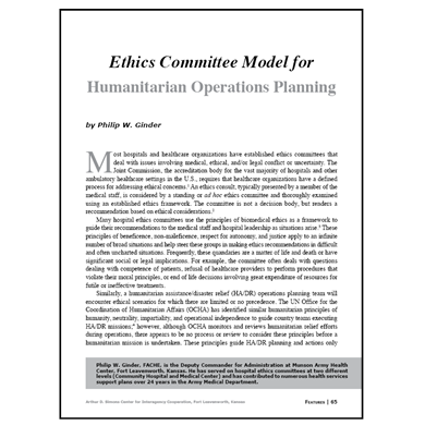 Featured Article: Ethics Committee Model…