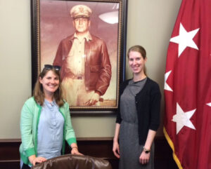 Lindsey Foat, left, and Taylor Hersh from the local Public Broadcasting System (PBS) channel, Kansas City Public Television (KCPT), visited Fort Leavenworth and the Command and General Staff College on June 30.