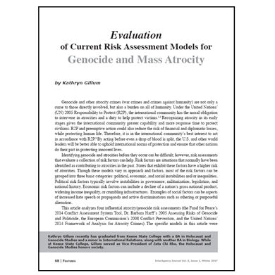 Featured Article: Evaluation of Current Risk Assessment Models for Genocide and Mass Atrocity