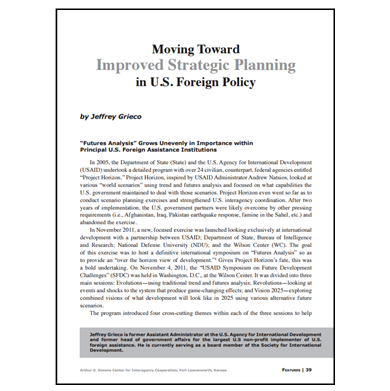 Featured Article: Moving Toward Improved Strategic Planning in U.S. Foreign Policy