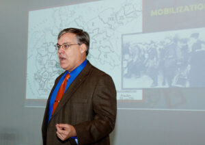 Dr. Scott Stephenson delivers his lecture on the German home front Sept. 20 in downtown Leavenworth, Kansas.