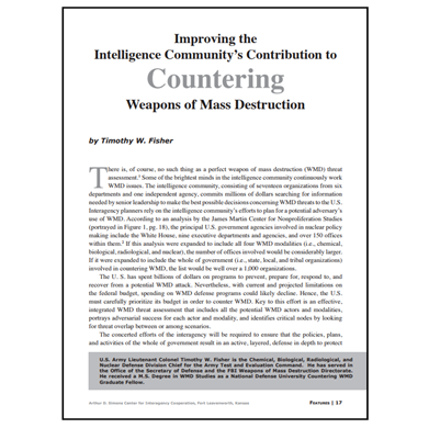 Featured Article: Improving the Intelligence Community's Contribution to CWMD