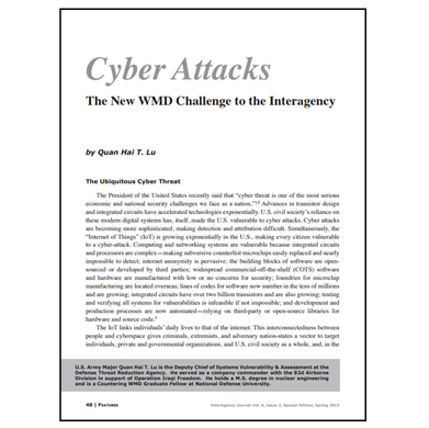 Featured Article: Cyber Attacks The New WMD Challenge to the Interagency