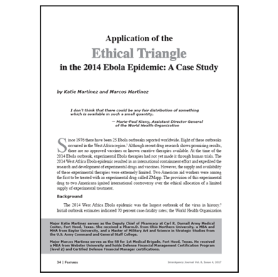 Featured Article: Application of the Ethical Triangle in the 2014 Ebola Epidemic…