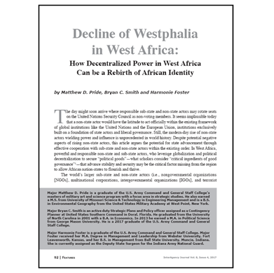 Featured Article: Decline of Westphalia in West Africa…