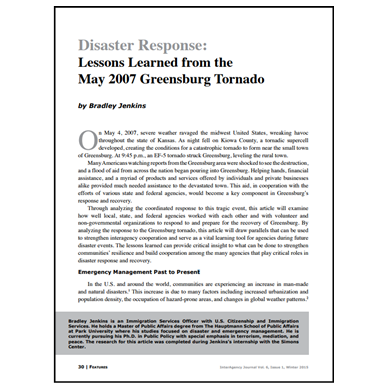 Featured Article: Lessons Learned from the May 2007 Greensburg Tornado