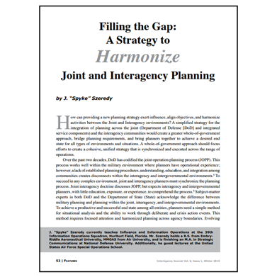 Featured Article: A Strategy to Harmonize Joint and Interagency Planning