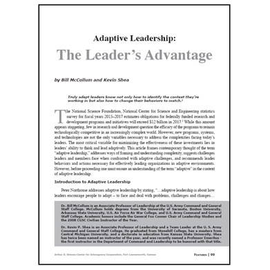 Featured Article: Adaptive Leadership…