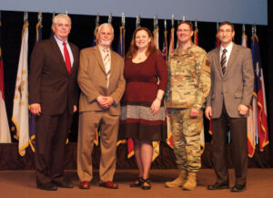 Organizers and keynote speakers for the 2018 Fort Leavenworth Ethics Symposium, from left: Doug Tystad, President/CEO of the CGSC Foundation; Dr. George Lucas, Jr., keynote speaker; Dr. Shannon E. French, closing keynote speaker; Chaplain (Lt. Col.) Jeff McKinney, CGSC lead project officer for the symposium; and Dr. Ted Thomas, director of CGSC Department of Command and Leadership.