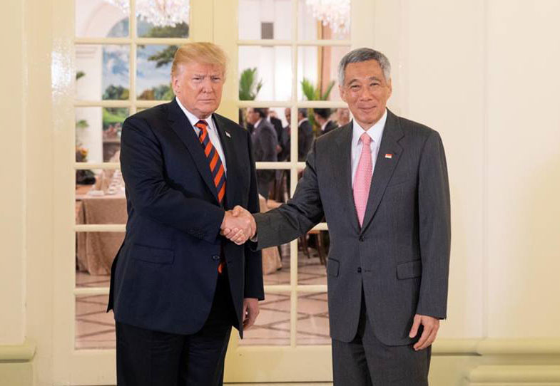 U.S. President Donald Trump and Singapore Prime Minister Lee Hsien Loong meet on June 11, the day of the summit between the U.S. and North Korea. Prime Minister Loong hosted the summit. (White House photos by Shealah Craighead)