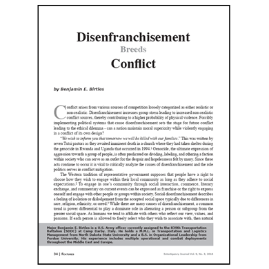 Featured Article: Disenfranchisement Breeds Conflict