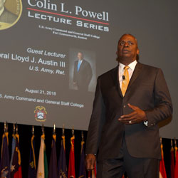 Former CENTCOM commander presents annual Colin Powell lecture