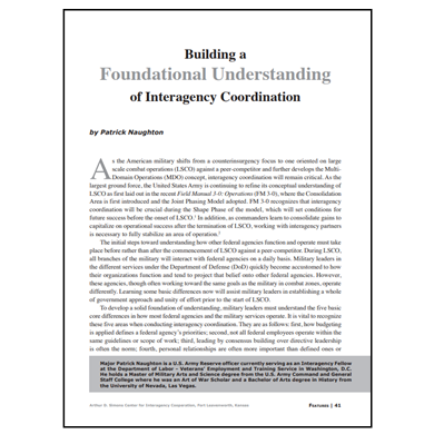 Featured Article: Building a Foundational Understanding of Interagency Coordination