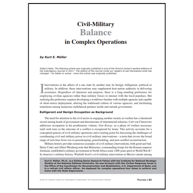 Featured Article: Civil-Military Balance in Complex Operations