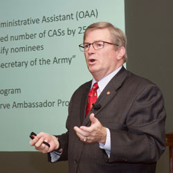 Civilian Aide to the Secretary of the Army presents at IA Brown-Bag