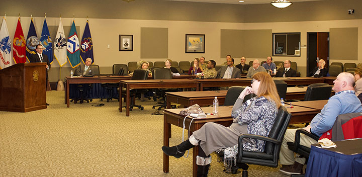 Supervisory Intelligence Analyst Robert Carignan of the Federal Bureau of Investigation's Kansas City Division leads discussion in the InterAgency Brown-bag Lecture Jan 30, in the Arnold Conference Room of the Lewis and Clark Center on Fort Leavenworth.