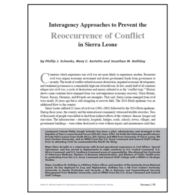 Featured Article: Interagency Approaches to Prevent the Reoccurrence of Conflict in Sierra Leone