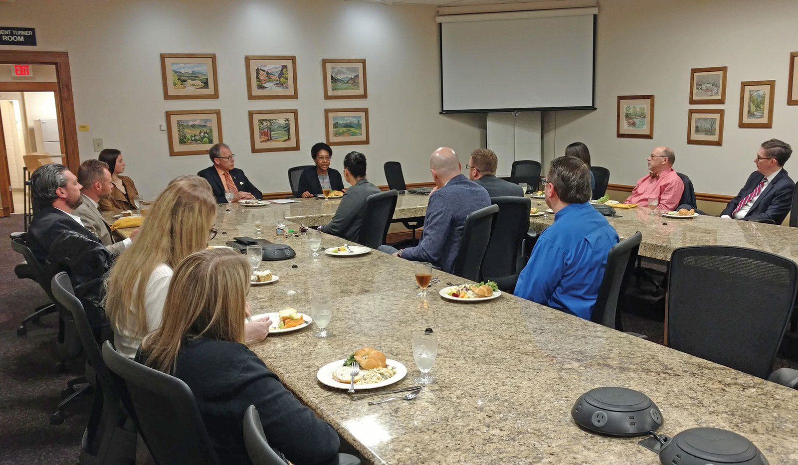 Ambassador (Ret.) Reddick presents during a luncheon roundtable at Park University on April 23.