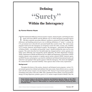 "Featured Article: Defining ""Surety"" Within the Interagency"