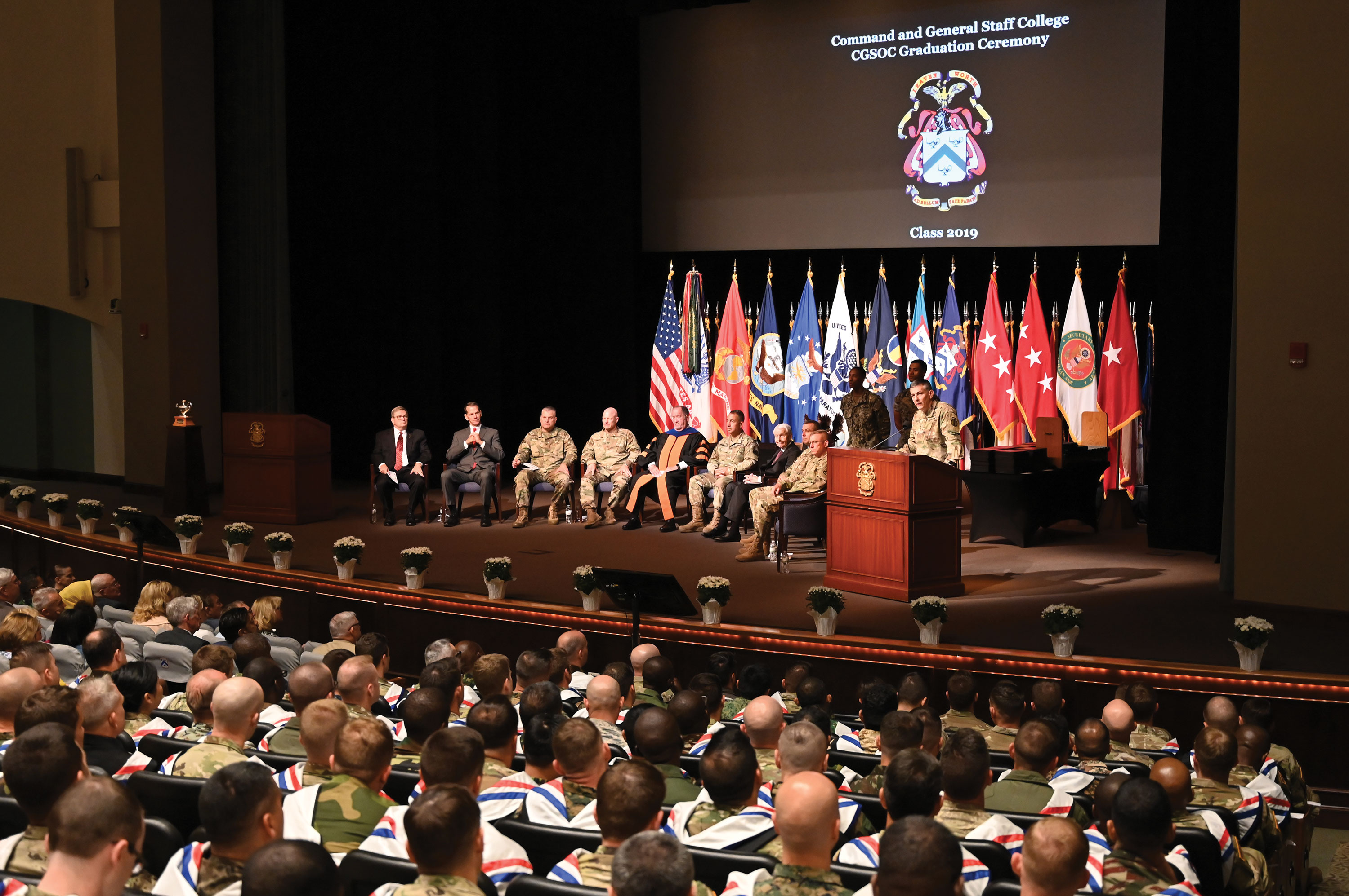 General Stephen J. Townsend, commanding general of the U.S. Army Training and Doctrine Command, delivers remarks at the graduation ceremony for the CGSOC Class of 2019 in the Lewis and Clark Center on Fort Leavenworth. (photo by Mark H. Wiggins)