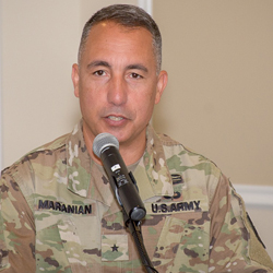 Photo of Brig. Gen. Stephen J. Maranian delivering remarks at his assumption of responsibility ceremony June 10, 2019, at the Frontier Conference Center on Fort Leavenworth. Maranian became the fourth provost of Army University.