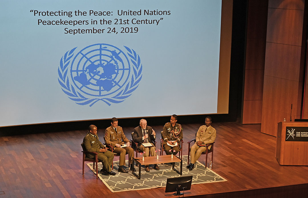 From left: Maj. Nathaniel K. Waka (Liberia), Maj. Carlos Vazquez (Spain), Mike Wood (UNA-GKC), Maj. MD Sajibul Islam (Bangladesh), and Maj. Daniel Atobrah Bondah (Ghana)