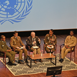 From left: Maj. Nathaniel K. Waka (Liberia), Maj. Carlos Vazquez (Spain), Mike Wood (UNA-GKC), Maj. MD Sajibul Islam (Bangladesh), and Maj. Daniel Atobrah Bondah (Ghana) - all CGSC international students who participated in the United Nations Peacekeepers forum at the National WWI Museum and Memorial in KC on Sept. 24, 2019.