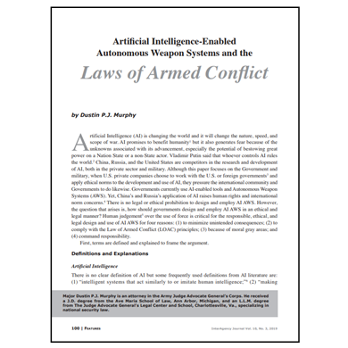 Featured Article: Artificial Intelligence-Enabled Autonomous Weapon Systems…