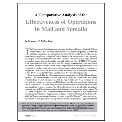 Featured Article: A Comparative Analysis of the Effectiveness of Operations in Mali and Somalia