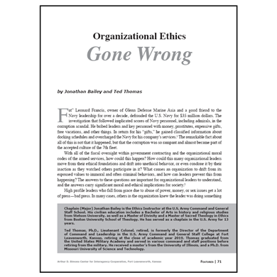 Featured Article: Organizational Ethics Gone Wrong