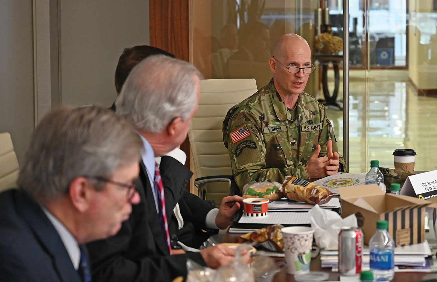 Col. Scott Green, director of the Command and General Staff School, provides Foundation trustees with an overview briefing on the College during the board meeting Dec. 4, 2019. (photos by Mark H. Wiggins)