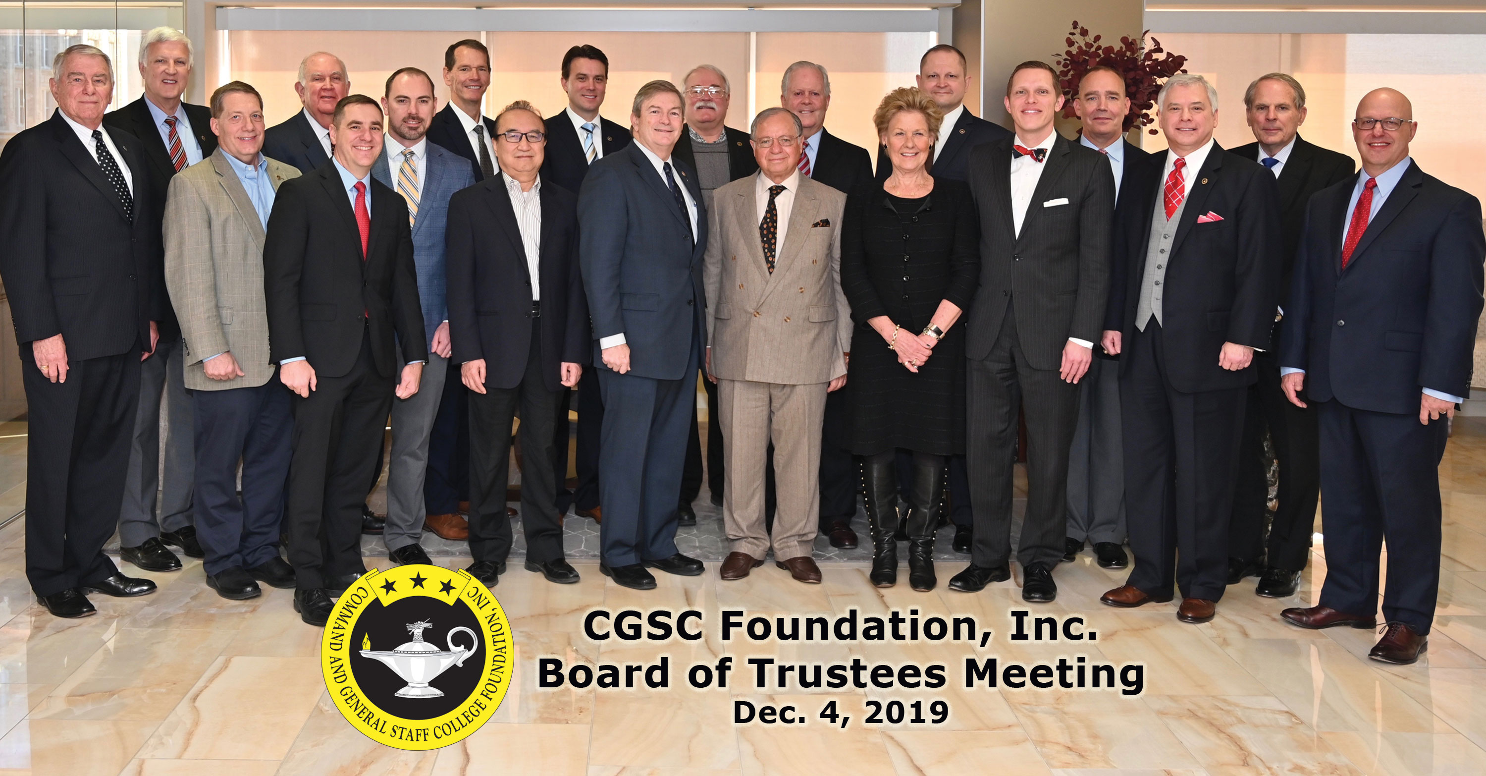 Photo of the CGSC Foundation board of trustees on Dec. 4, 2019 during the quarterly board meeting.