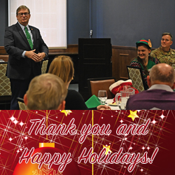 photo of Foundation Chair Mike Hockley thanking everyone for their support during the 2019 holiday appreciation luncheon Dec. 12, 2019, at the Frontier Conference Center on Fort Leavenworth
