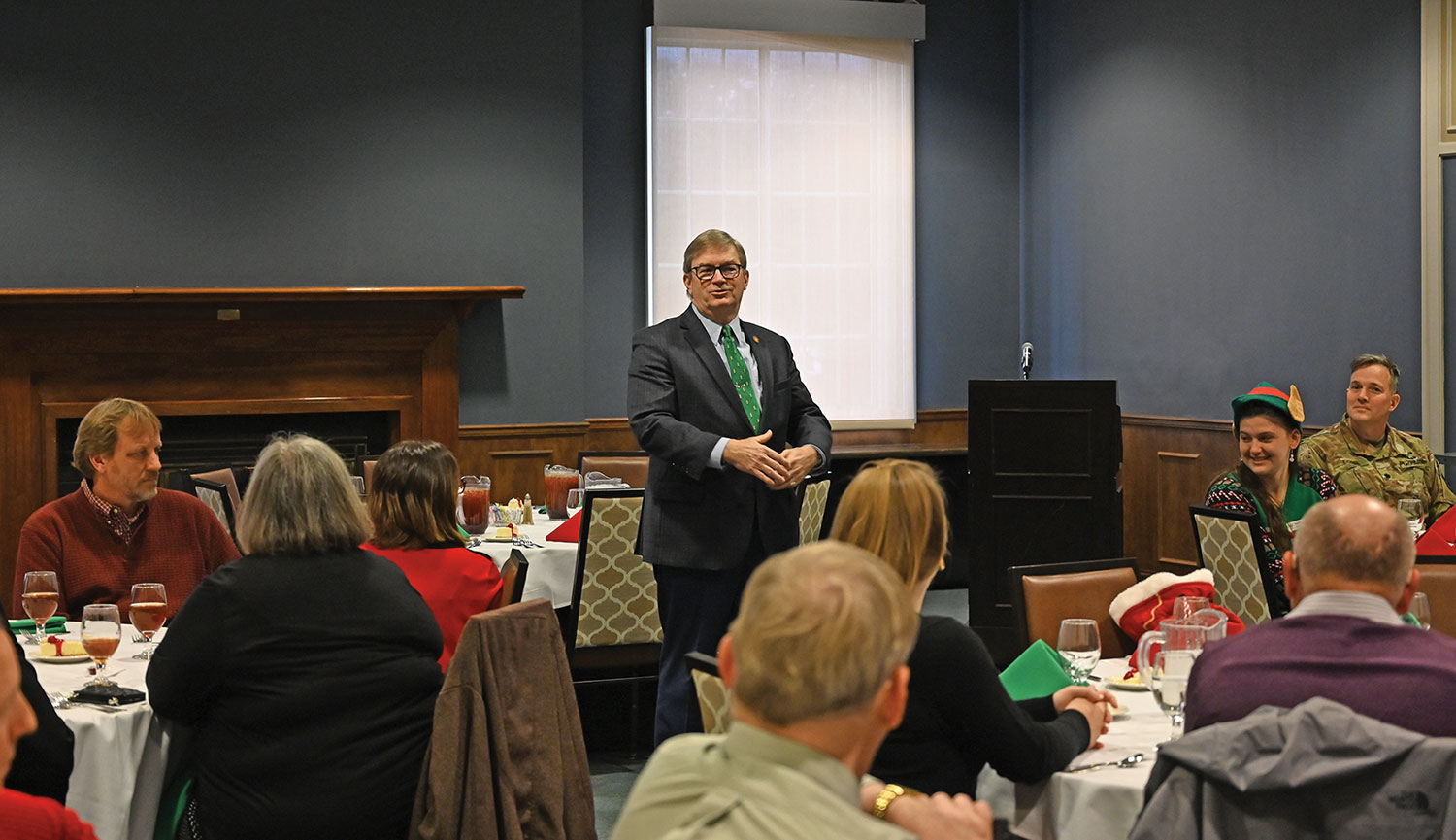 Foundation Chair Mike Hockley recognizes staff and trustees at the annual holiday appreciation luncheon Dec. 12, 2019, at the Frontier Conference Center on Fort Leavenworth.