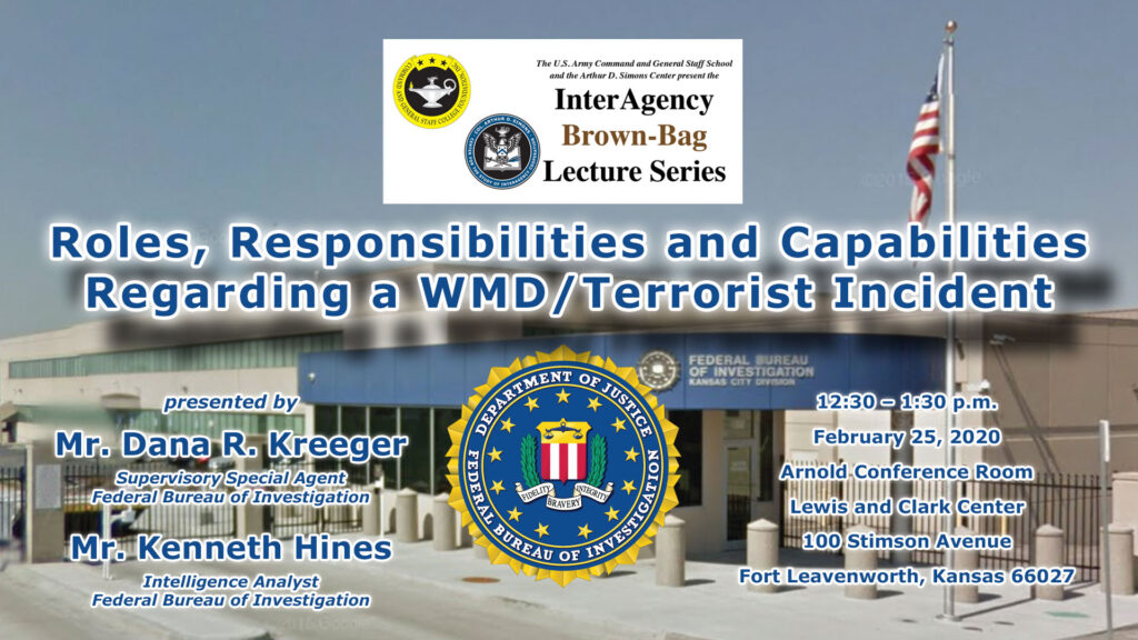 composite info image for the FBI-focused brown-bag lecture on Feb. 25, 2020