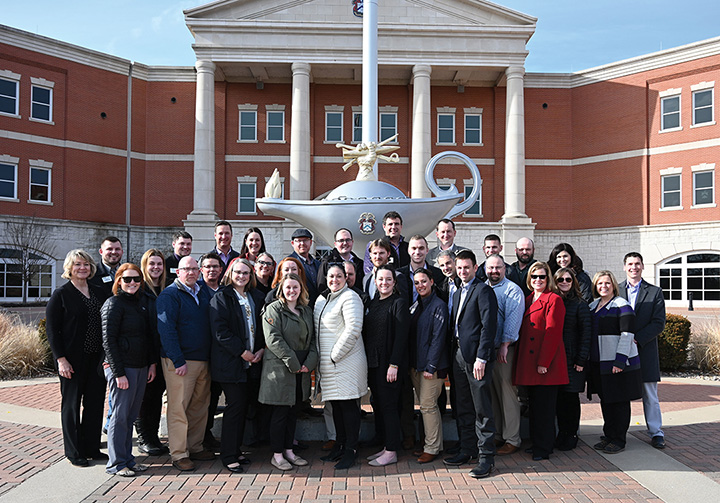 Members of the 2019-2021 class of KARL take a group photo outside of the Lewis and Clark Center on Feb. 10, 2020.